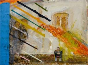 林奕維Lin, Yi-Wei,在陽台上 Balcony,壓克力顏料,畫布 Acrylic on the canvas,40 x 30cm,2018